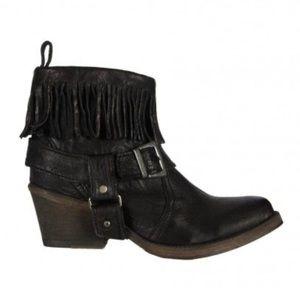 Allsaints Bonny Leather Fringe Boots Size 7